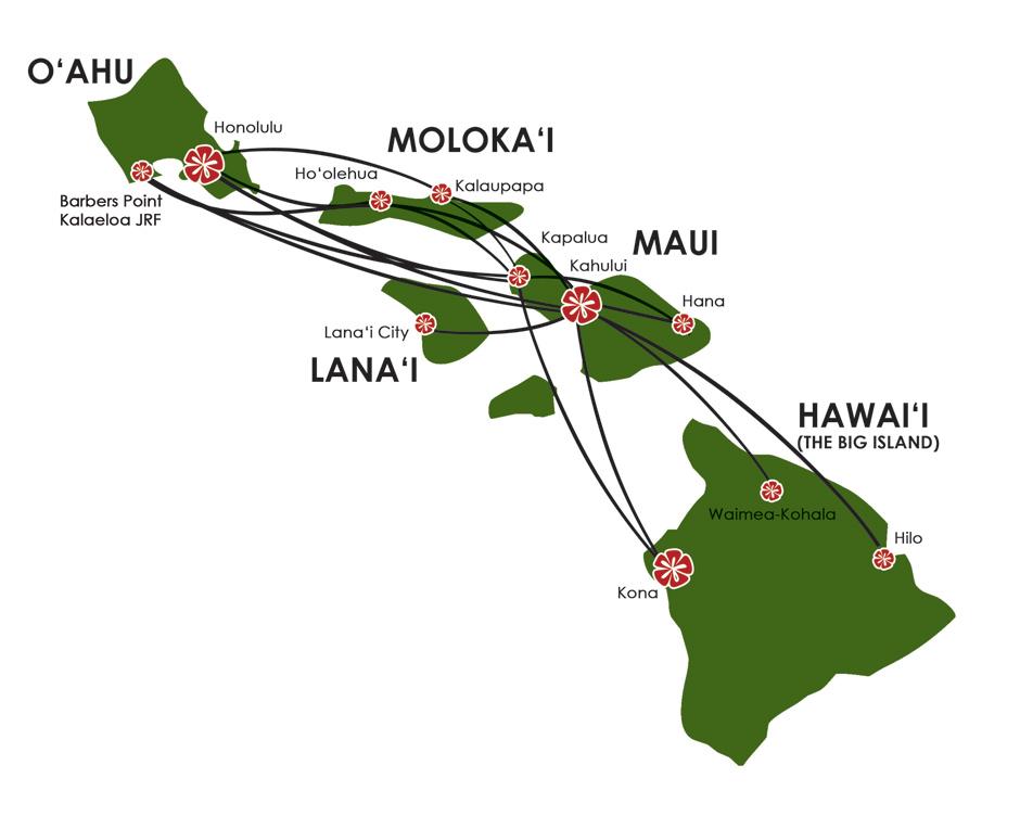 Mokulele Airlines Hawaii Destinations Map