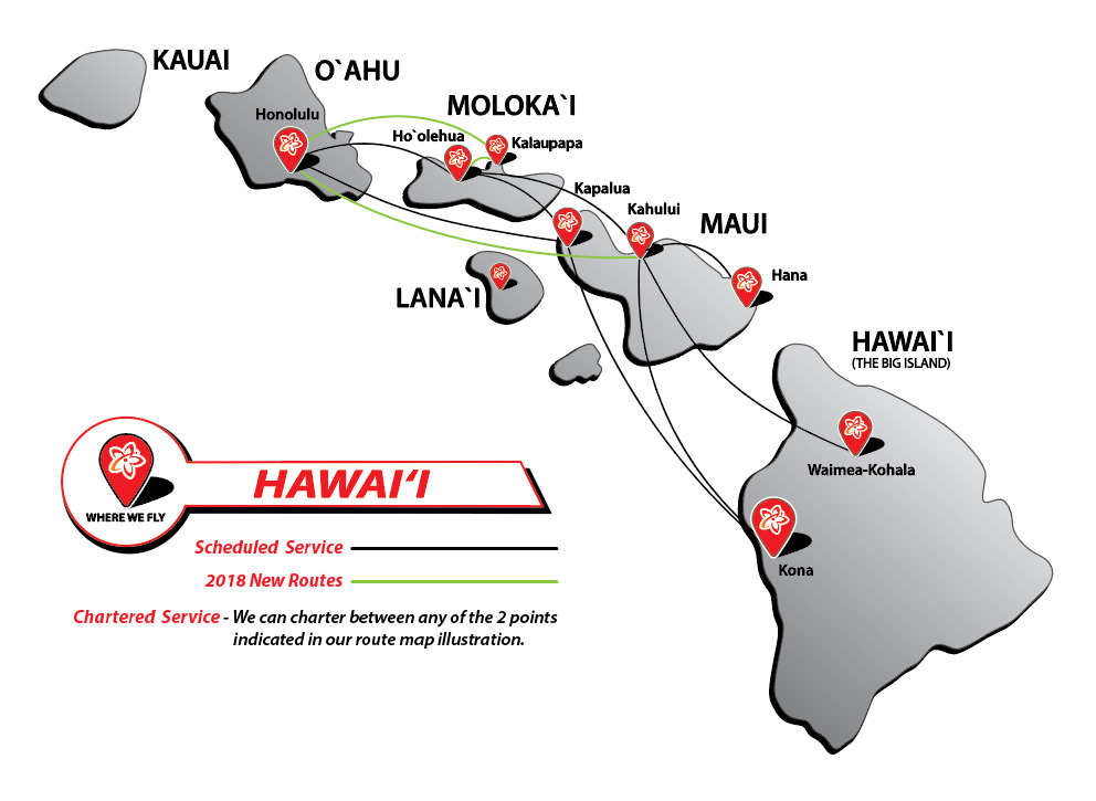 Kapalua Hawaii Map.Route Map Mokulele Airlines Where We Fly