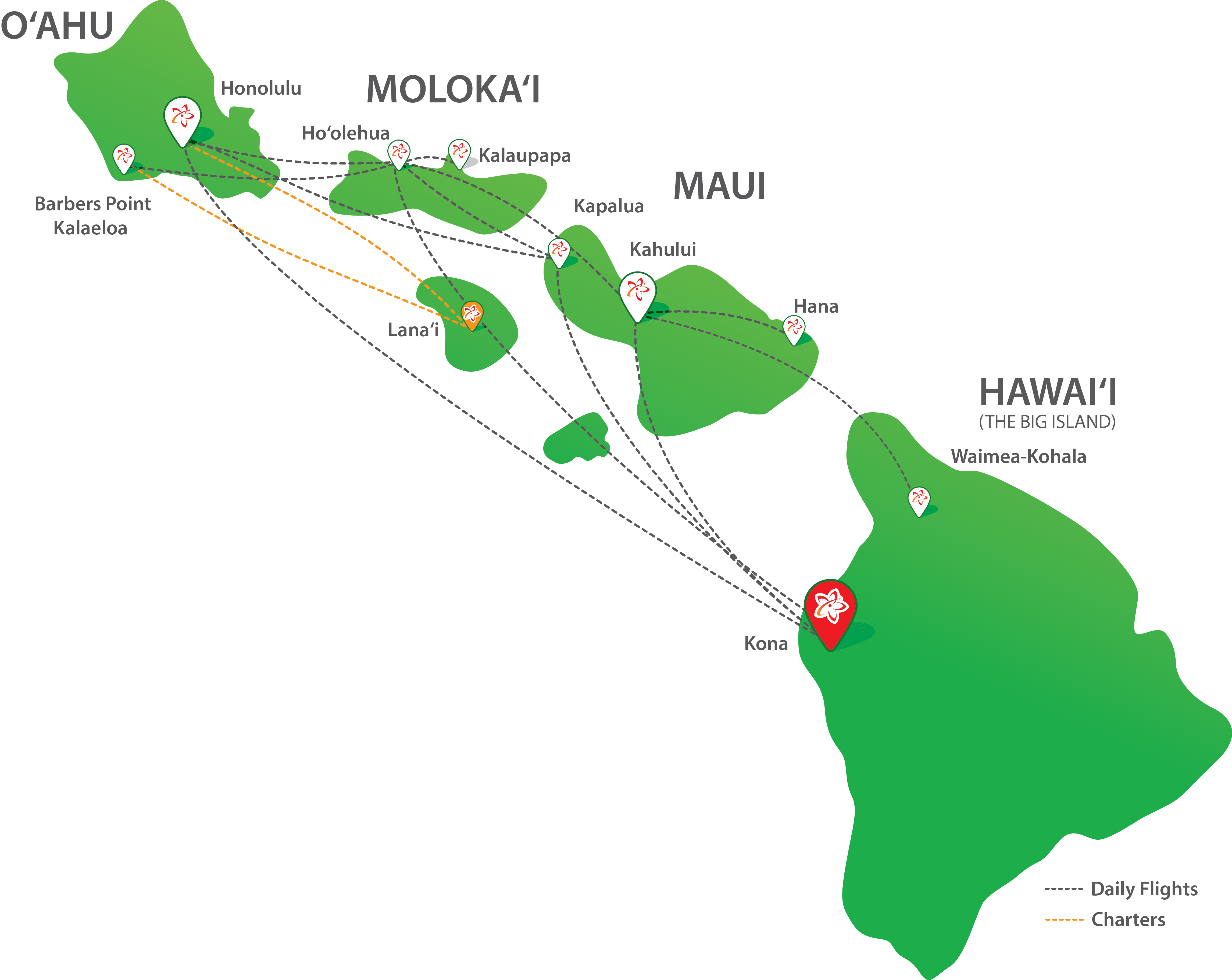 Route Map  Mokulele Airlines  Hawaii39s Favorite Island