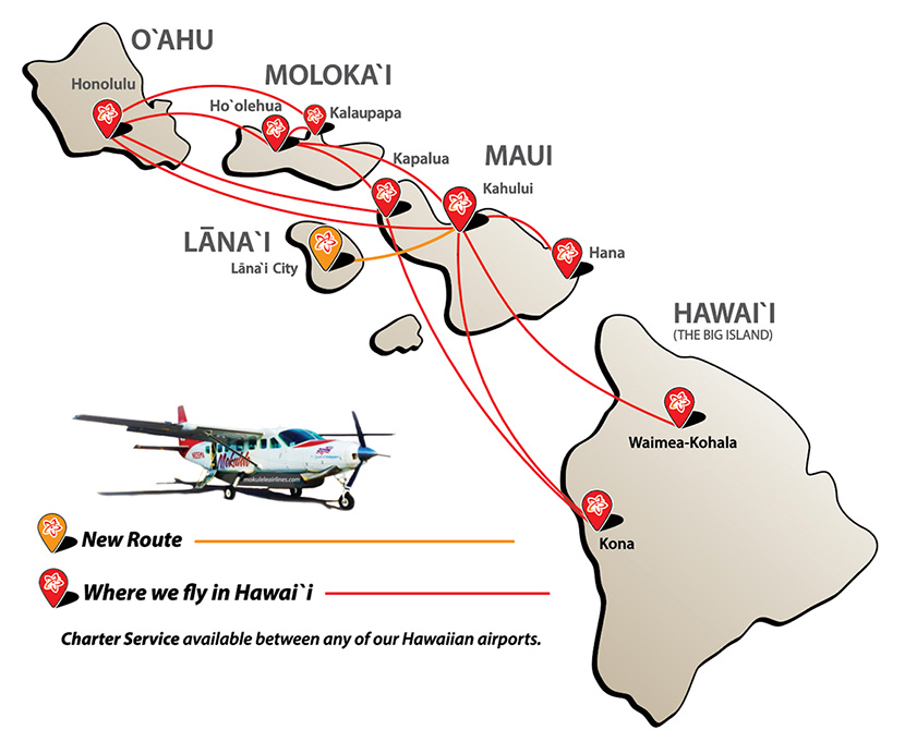Route Map Mokulele Airlines Where We Fly