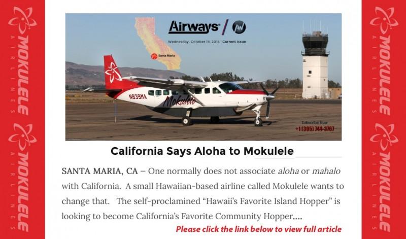CA says Aloha to Mokulele